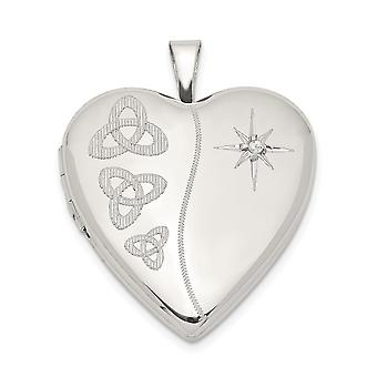 925 Sterling Silver Engravable 20mm Diamond Trinity Love Heart Photo Locket Pendant Necklace Jewelry Gifts for Women