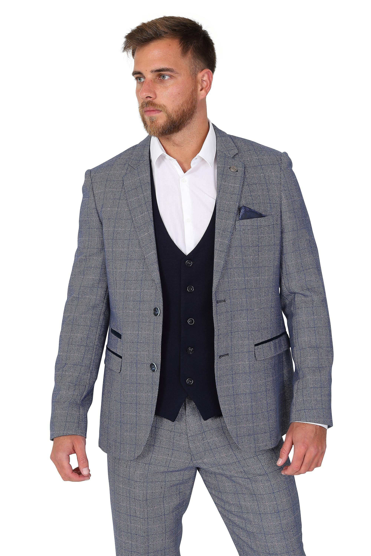 Marc Darcy Kelly Blue Plain Waistcoat