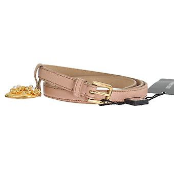 Dolce & Gabbana Beige Leather Mamma Gold Heart Belt