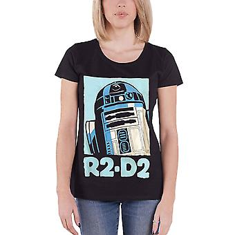 Official Womens Star Wars T Shirt R2D2 Robot Retro Poster New Black Skinny Fit