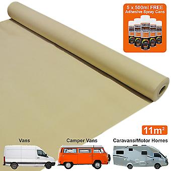 11m2 Van Lining Carpet Super Stretch Motor Home Adhesive Glue Cans Kit Camper Wheat