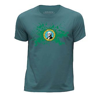 STUFF4 Pojan Pyöreä kaula T-paita / / Washington USA-osavaltion lippu Splat/Ocean vihreä