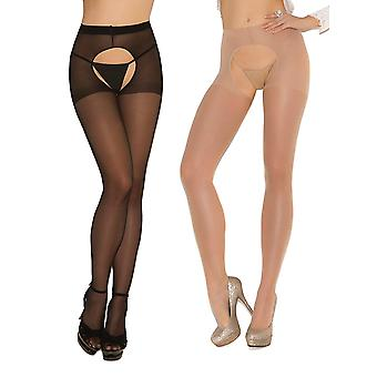Womens Sexy Sheer Crotchless Pantyhose Hosiery Stockings Tights- 2 pack