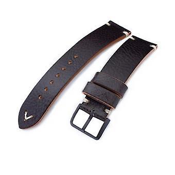 Strapcode leather watch strap 20mm, 21mm, 22mm miltat dark brown genuine calf leather watch strap, beige stitching, pvd black buckle