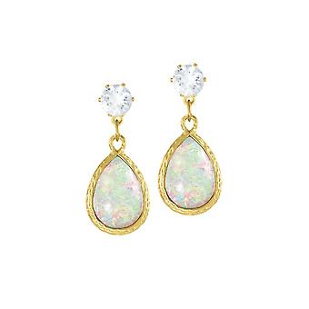 Eternal Collection Serendipity White Opalescent Teardrop Gold Tone Drop Clip On Earrings