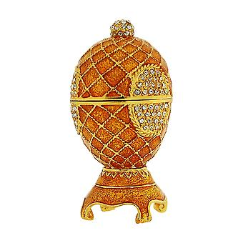TOC Small Goldtone Faberge-Style Egg Trinket Jewellery Box