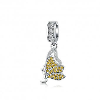 Sterling Silver Pendant Charm Yellow Butterfly - 6164