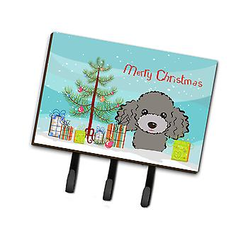 Christmas Tree and Silver Gray Poodle Leash or Key Holder