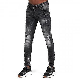 Glorious Gangsta Atreo Superslim Black Wash Ripped & Repaired Biker Denim Jeans