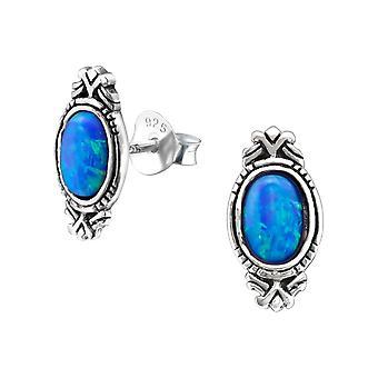 Oval - 925 Sterling sølv Opal og Semi ædle øret knopper - W23663x