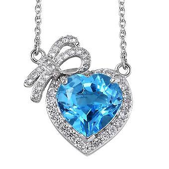 Col collier suisse de chaîne de topaz bleu Sterling Argent Cambodgien Zircon Taille 18