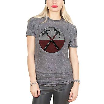 Pink Floyd T Shirt The Wall Hammers Band Logo Officiella Womens Charcoal Burn Out