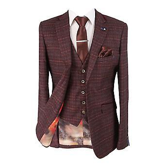 Cavani Mens & Boys Retro Wine Check Tweed Suit