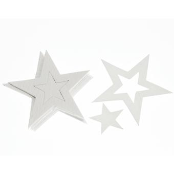 15 White Star Textured Card Shapes for Crafts