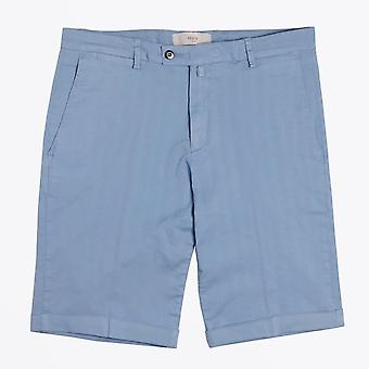 Briglia - Sky Blue Shorts With Tonal Stripe & Turn Up