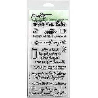 اعتصام سياج استوديوهات القهوة في اليد الطوابع واضحة