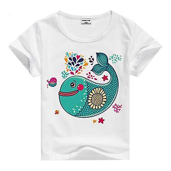 Summer Cotton Short Sleeve T-Shirt, Whale And Flowers, Infant