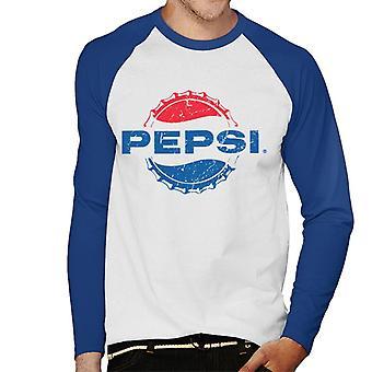 Pepsi 1962 Distressed Bottlecap Logo Men's Baseball Long Sleeved T-Shirt