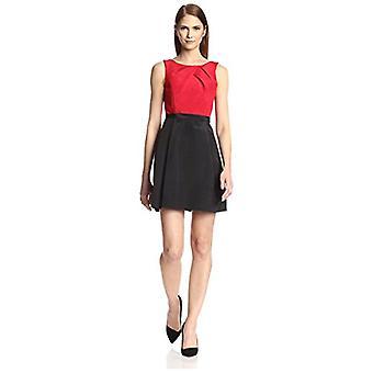 SOCIETY NEW YORK Women's Sleeveless Pleated Bodice Dress, Geranium/Black, 2 US