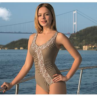 Aqua Perla  Womens Costa Rica Beige  One Piece Swimwear