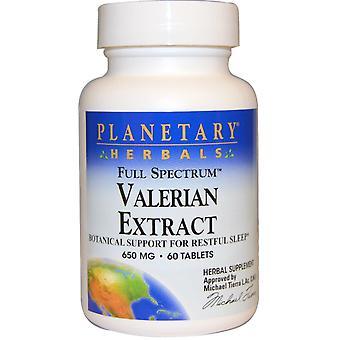 Planetary Herbals, Valerian Extract, Full Spectrum, 650 mg, 60 Tablets