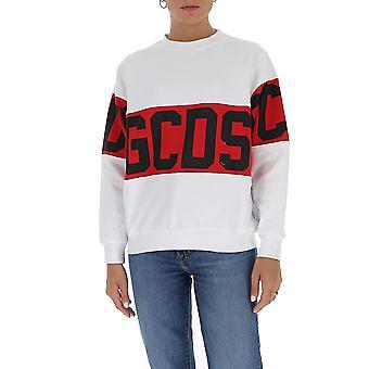 Gcds Cc94w02105601 Dames's White Cotton Sweatshirt