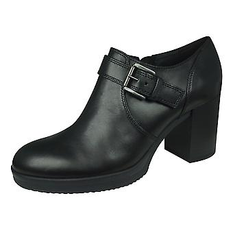 Geox D Remigia C Womens Leather Zipped Shoes - Black