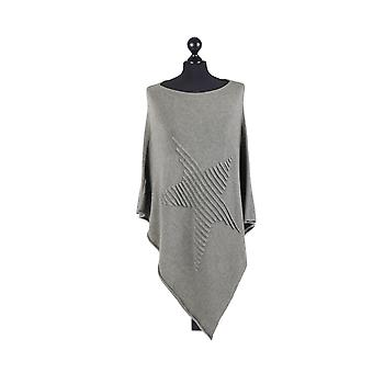 Orla Knitted Star Poncho | Khaki | One Size