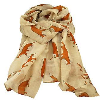 Ties Planet Fox Animal Print Ivory Cream Lightweight Women's Shawl Scarf
