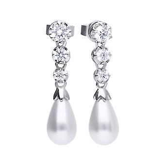 Diamonfire perla blanca y corte redondo cúbico Zirconia pendientes E5777