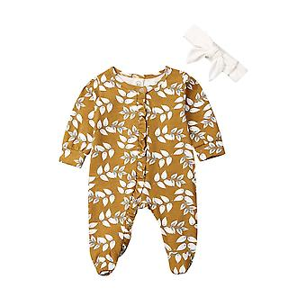 Baby Long Sleeve Flower Footies Floral Jumper, Casual Jumpsuit Outfit