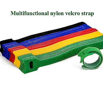 50pcs T-type Velcro Cable Tie Wire, Reusable Cord, Colorful Computer Data