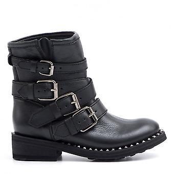 Černý Biker Ash Pasti Destroyer kotníkové boty s přezkami