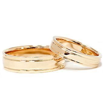 """סט טבעת נישואין עם שכבה כפולה 14 ק""""מ זהב צהוב"""