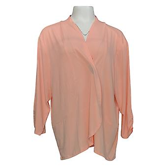 IMAN Boho Chic Women's Plus Sweater Drape Front Cardigan Pink 692-017