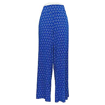 Nina Leonard Women's Plus Pants Stretch Wide Leg With Pockets Blue 642-927