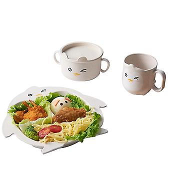 Children's Tableware Five-piece Set Of Creative Cartoon Wheat Straw Environmental Protection