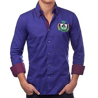 Menns Langermede polo skjorte Slim Fit patcher fritid skjorte Casual (5 farger)