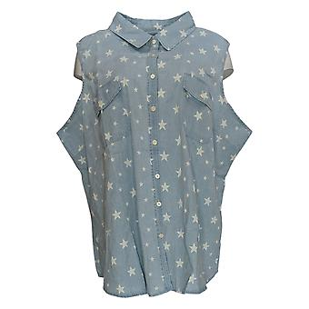 Denim & Co. Women's Plus Top Sleeveless Star Print Shirt Blue A352140