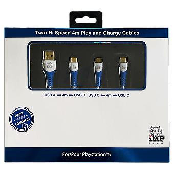 High speed 4 metre play & charge cable twin pack (ps5)