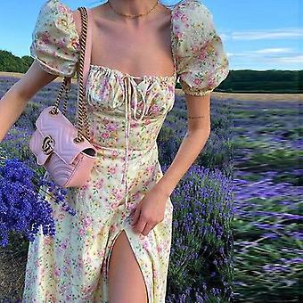Kvinnor Sommar Square Krage Puff Sleeve lång klänning