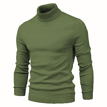 Winter Turtleneck Thick Mens Sweaters, Solid, Warm, Slim Pullover