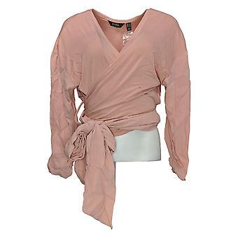 Du Jour Women's Top Drop Shoulder Long-Sleeve Wrap Front Knit Pink A343621