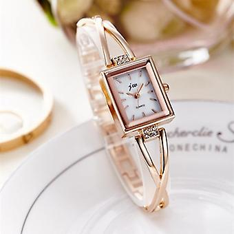 Luxury Rhinestone Watches, Women Stainless Steel Quartz Bracelet Watch Gold