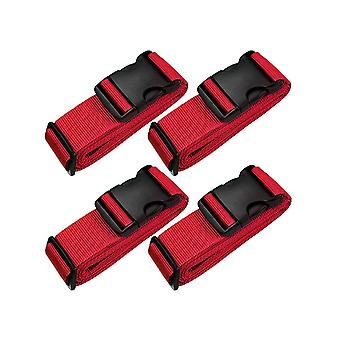4pcs 5x188cm Red Adjustable Suitcase Buckle Binding Strap for Travel Accessories