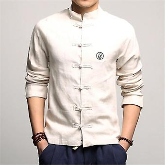 Traditionella kläder Vintage Full Sleeve Krage Linne skjortor Tang Suit