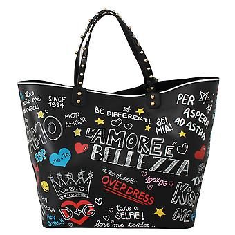 Black Multi Print Shopping Handbag Tote BEATRICE Bag