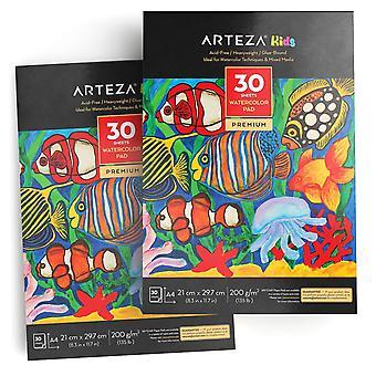Tapis aquarelle Arteza kids'Äô a4 (21 cm x 29,7 cm), ensemble de 2, 30 feuilles chacun, 200 gsm, parfait pour