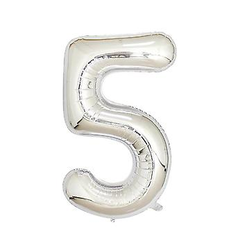 "Silver foil party balloon - 80cm (32"") - number 5"