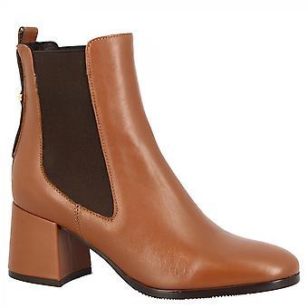Leonardo Shoes Women's handgemaakte ronde teen vierkante hakken enkellaarsjes in bruin gekleurd napa leer